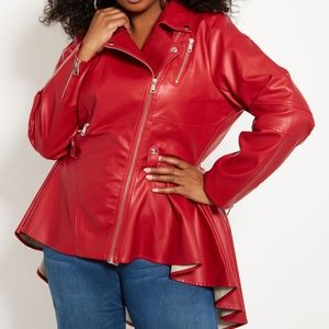 2X NEW red faux leather hi-low biker moto jacket